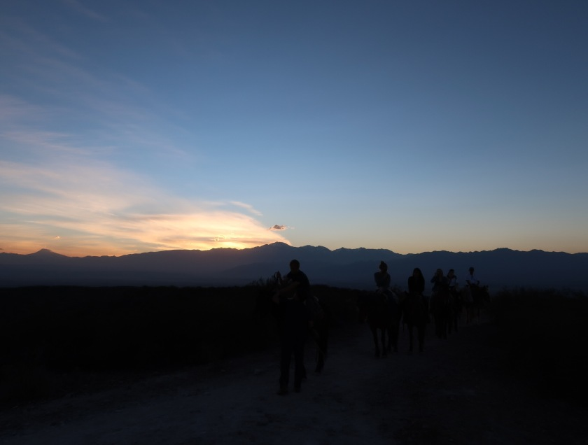 Sunset over the Andes, from horseback
