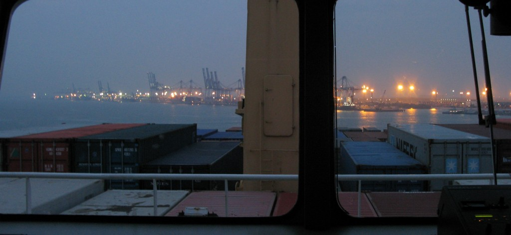 View from freighter ship bridge
