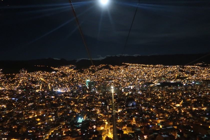 Night view from the La Paz cable cars