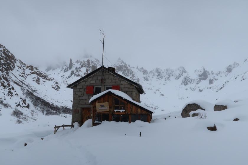 Refugio Frey in deep snow