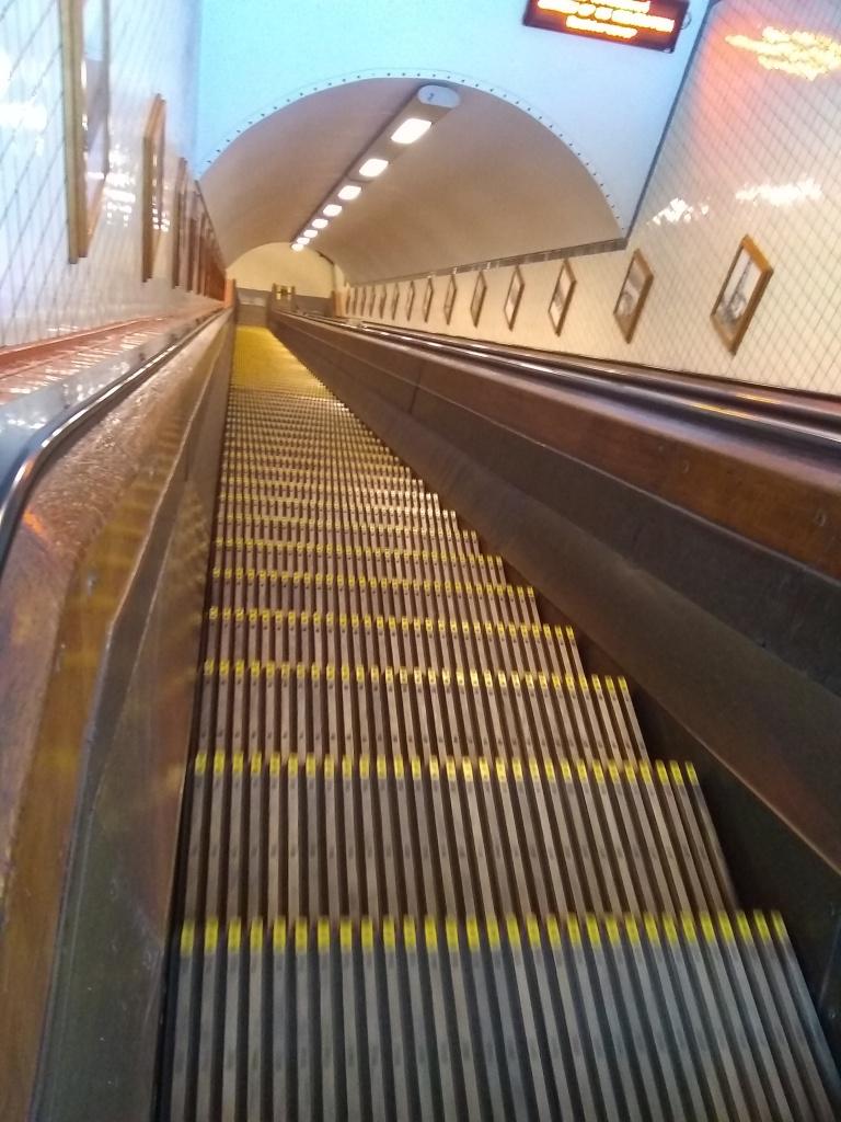 Wooden escalator to pedestrian tunnel under river