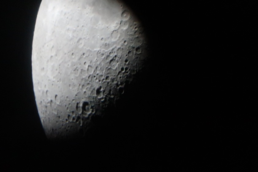 The moon through a telescope at Mamalluca observatory